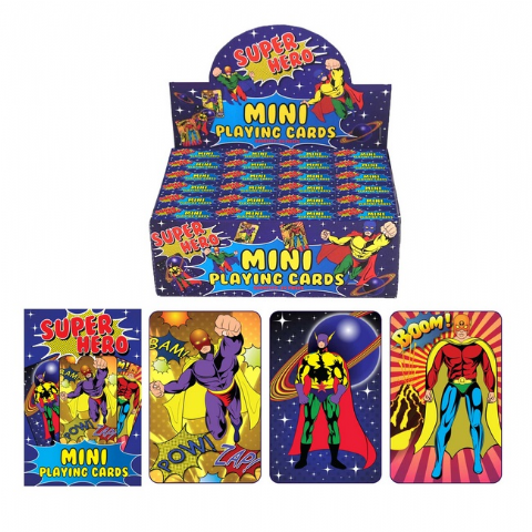 24 x Packs Of Super Hero Themed Mini Playing Cards - Wholesale Bulk Buy Party Bag Fillers